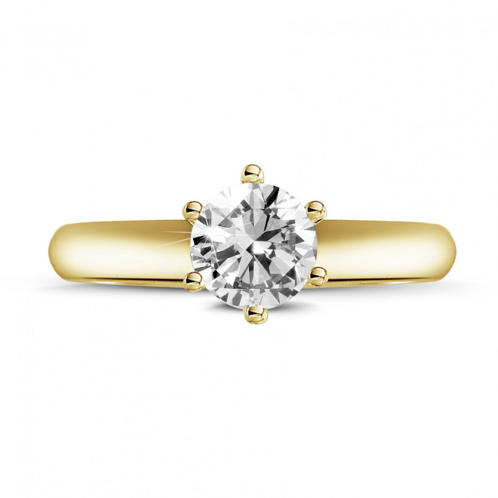 0.70 carat solitaire diamond ring in yellow gold with six prongs