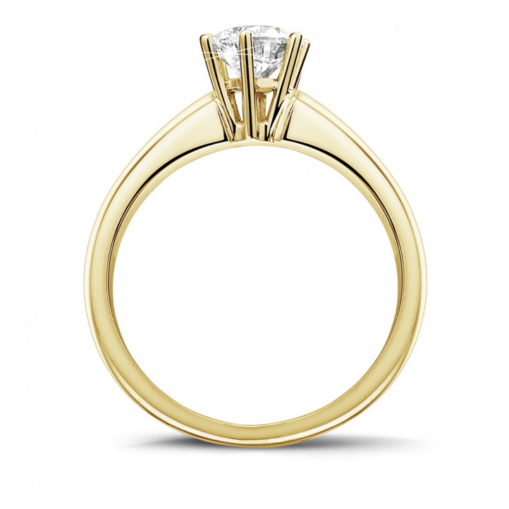 0.75 carat solitaire diamond ring in yellow gold with six prongs
