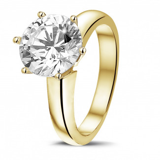 3.00 carat solitaire diamond ring in yellow gold with six prongs