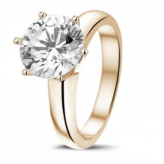 3.00 carat solitaire diamond ring in red gold with six prongs