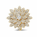 1.35 carat diamond flower ring in yellow gold