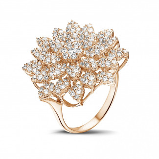 Red Gold Diamond Rings - 1.35 carat diamond flower ring in red gold