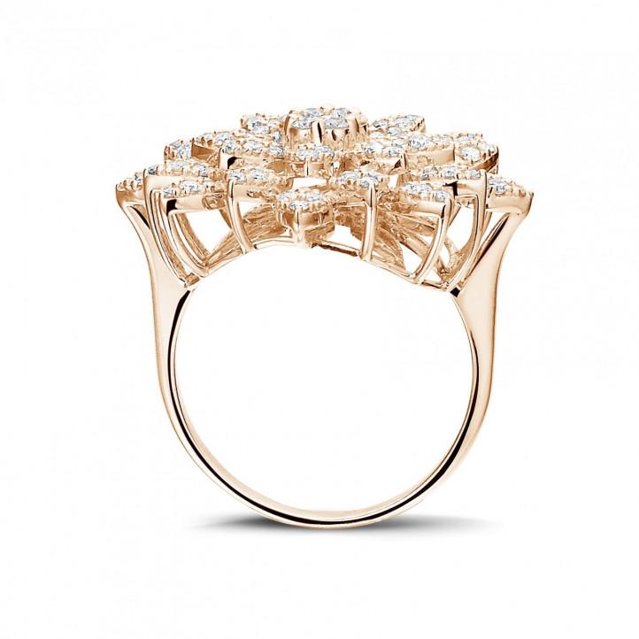 1.35 carat diamond flower ring in red gold