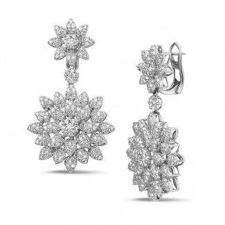 Earrings - 3.65 carat diamond flower earrings in white gold