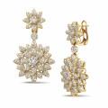 3.65 carat diamond flower earrings in yellow gold