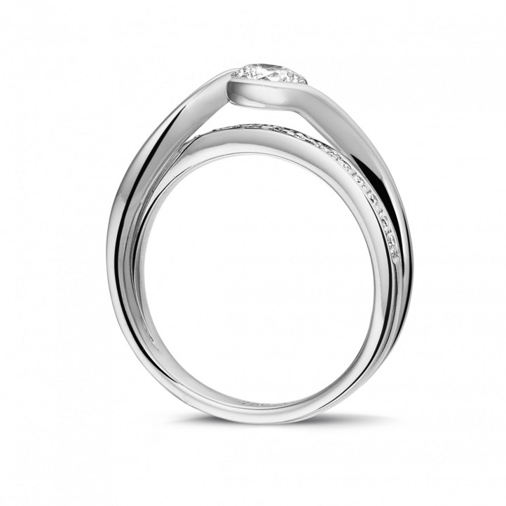 0.50 carat solitaire diamond ring in white gold