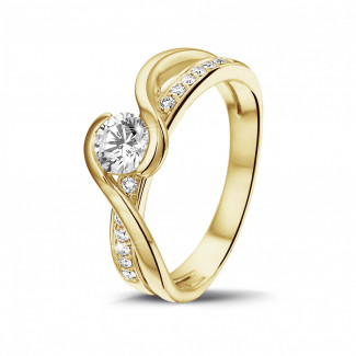 Yellow Gold Diamond Rings - 0.50 carat solitaire diamond ring in yellow gold