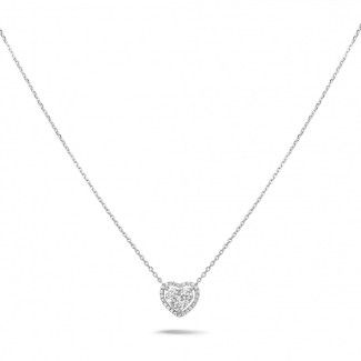 Gold necklace - 0.65 carat heart-shaped necklace in white gold with round diamonds