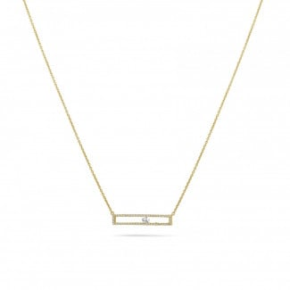 Yellow Gold Diamond Necklaces - 0.30 carat necklace in yellow gold with a floating round diamond