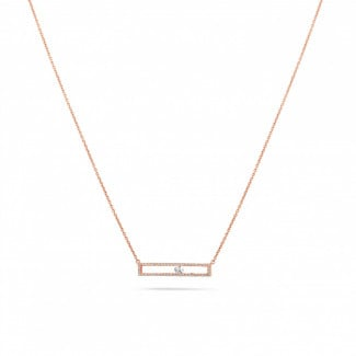 Red Gold Diamond Necklaces - 0.30 carat necklace in red gold with a floating round diamond