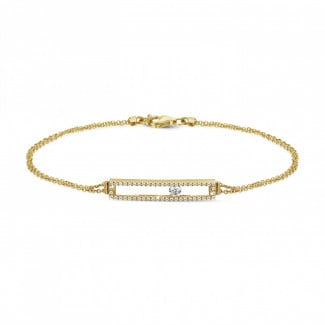 0.30 carat bracelet in yellow gold with a floating round diamond