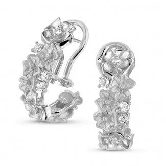 Earrings - 0.50 carat diamond design floral earrings in white gold