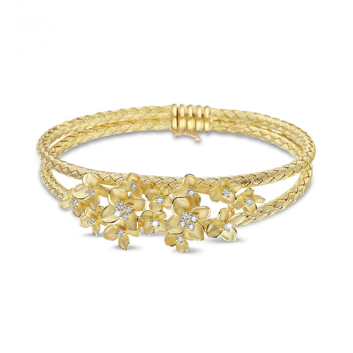 0.55 carat diamond design floral bangle bracelet in yellow gold