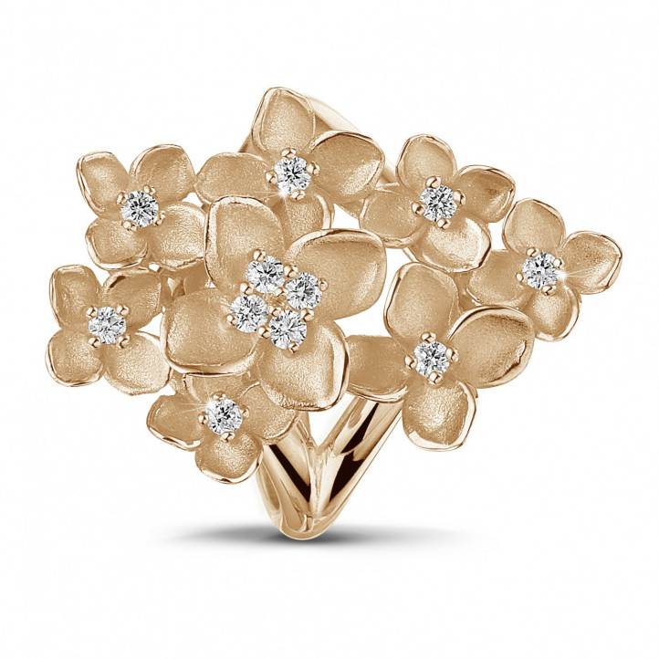 0.30 carat diamond design floral ring in red gold