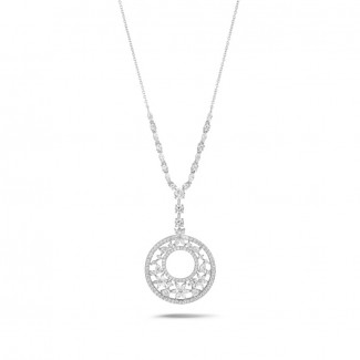 Gold necklace - 7.70 Ct necklace in white gold with round, marquise, pear and heart-shaped diamonds
