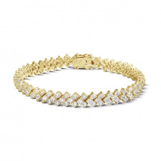 Yellow Gold Diamond Bracelets - 9.50 Ct bracelet in yellow gold with fishtail design