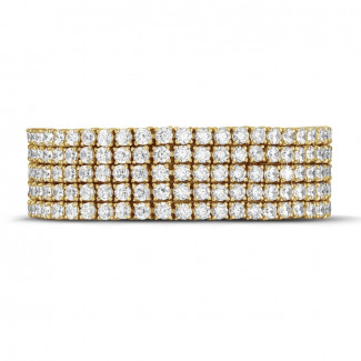 Yellow Gold Diamond Bracelets - 25.90 Ct wide tennis bracelet in yellow gold