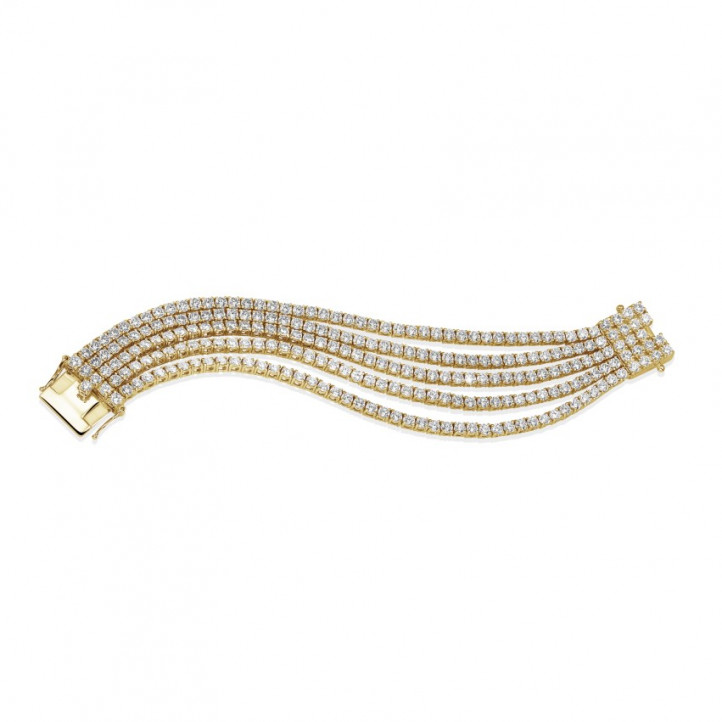 25.90 Ct wide tennis bracelet in yellow gold