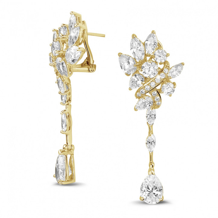 12.80 Ct earrings in yellow gold with round, marquise and pear-shaped diamonds