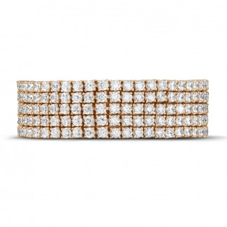 Red Gold Diamond Bracelets - 25.90 Ct wide tennis bracelet in red gold