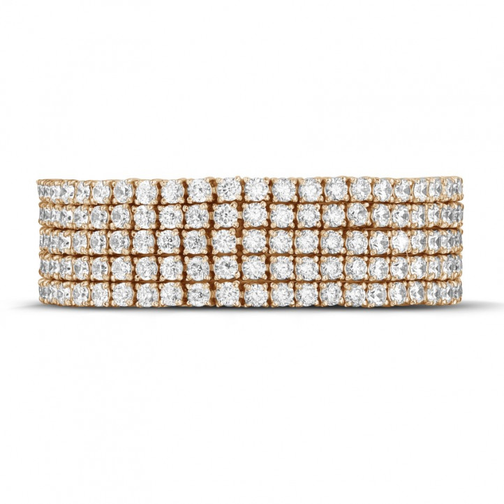25.90 Ct wide tennis bracelet in red gold