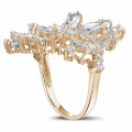 5.80 carat ring in red gold with marquise and round diamonds