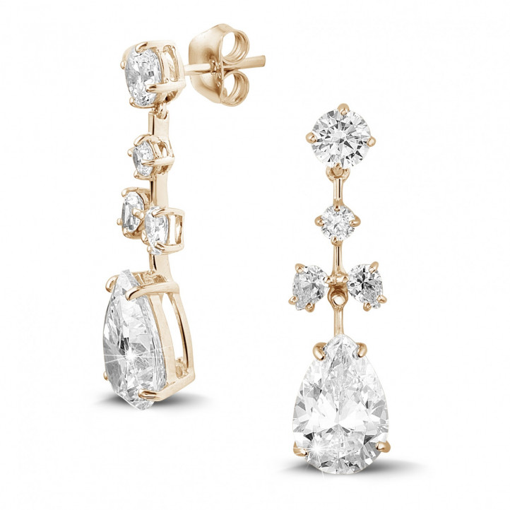 7.00 carat earrings in red gold with round and pear-shaped diamonds
