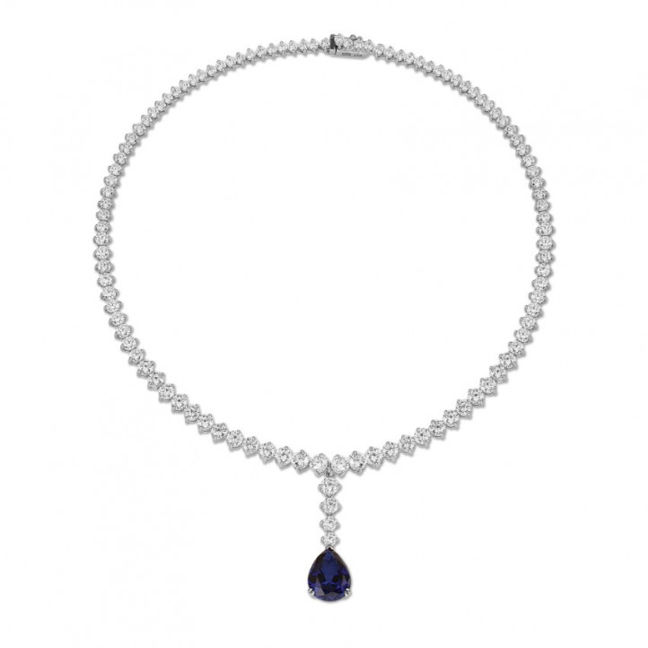 21.30 carat diamond gradient necklace in white gold with pear-shaped sapphire