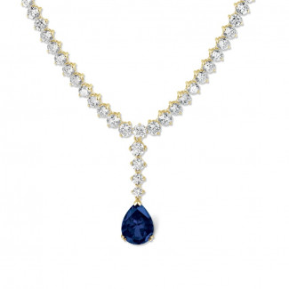 27.00 carat diamond degrade necklace in yellow gold with pear-shaped sapphire