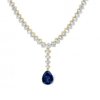 Exclusive jewellery in yellow gold - 27.00 carat diamond degradee necklace in yellow gold with pear-shaped sapphire