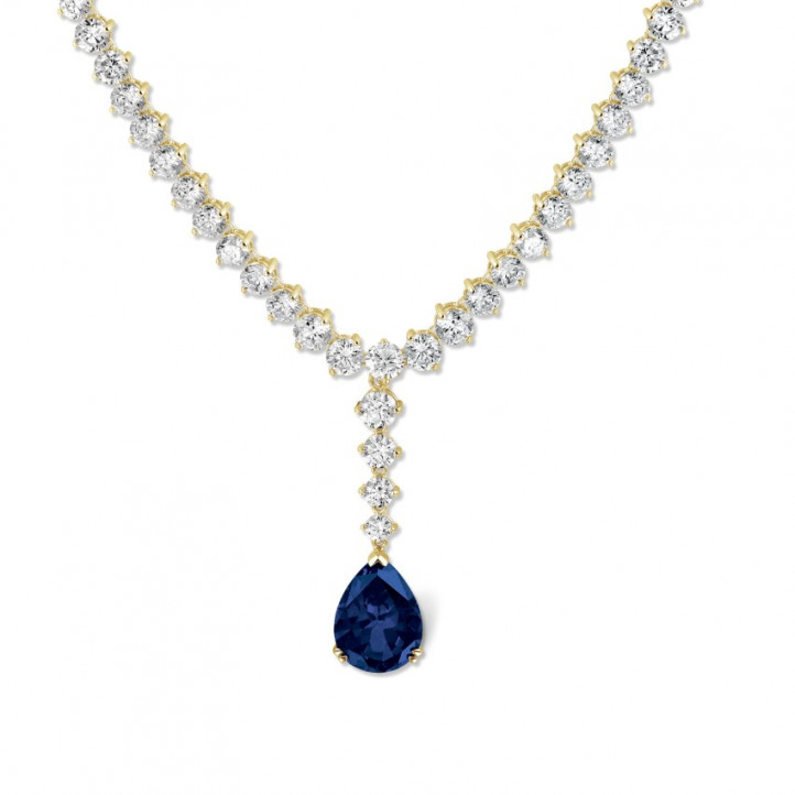 27.00 carat diamond gradient necklace in yellow gold with pear-shaped sapphire