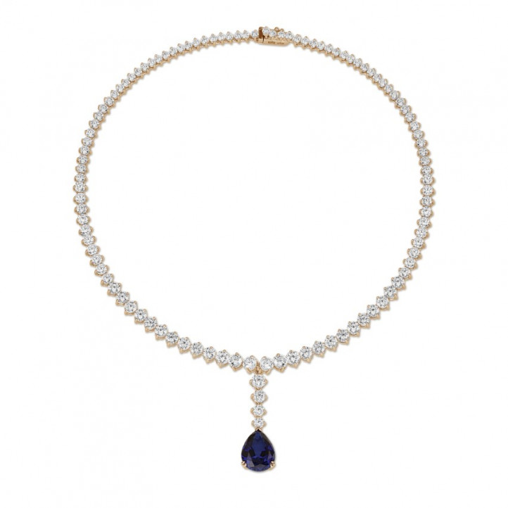 27.00 carat diamond gradient necklace in red gold with pear-shaped sapphire