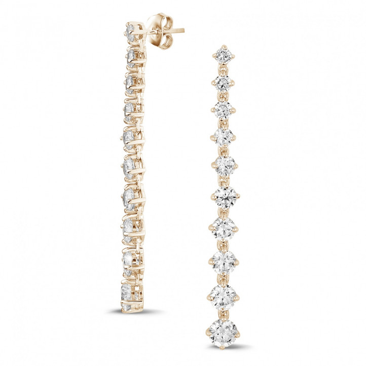 5.50 carat degrade earrings in red gold