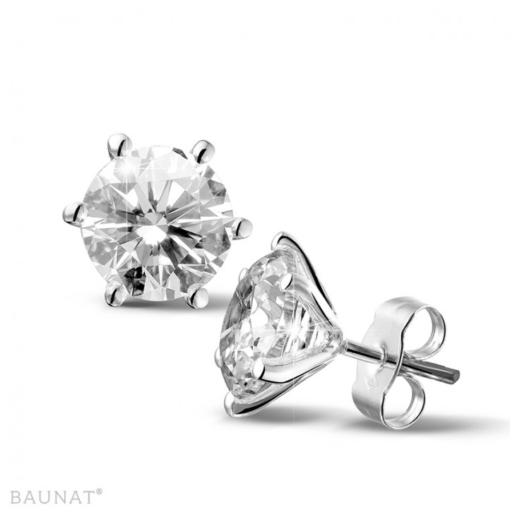 4.00 carat classic earrings in white gold with six prongs and diamonds of exceptional quality (D-IF-EX)