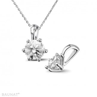 Exclusive jewellery - 1.00 carat white golden solitaire pendant with diamond of exceptional quality (D-IF-EX)