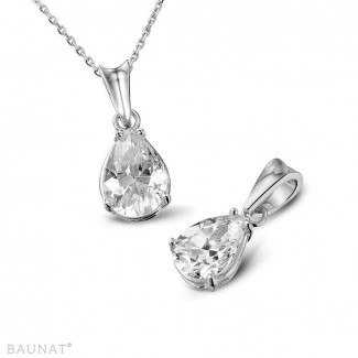 Exclusive jewellery - 1.00 carat white golden solitaire pendant with pear shaped diamond of exceptional quality (D-IF-EX)