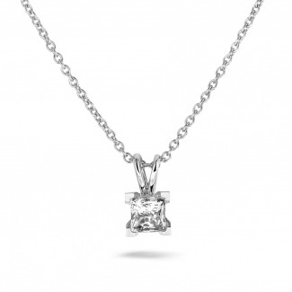 Exclusive jewellery - 1.00 carat solitaire pendant in white gold with princess diamond of exceptional quality (D-IF-EX)