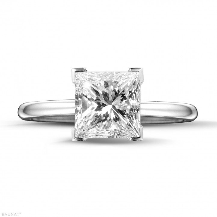 2.00 carat solitaire ring in white gold with princess diamond of exceptional quality (D-IF-EX)