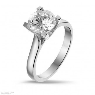 2.00 carat solitaire ring in white gold with diamond of exceptional quality (D-IF-EX)