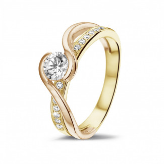 Yellow Gold Diamond Rings - 0.50 carat solitaire diamond ring in yellow and red gold