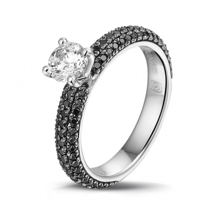 0.50 carat solitaire ring (half set) in white gold with black diamonds