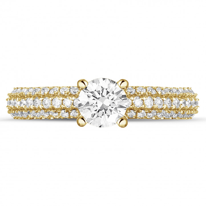 0.50 carat solitaire ring (full set) in yellow gold with side diamonds