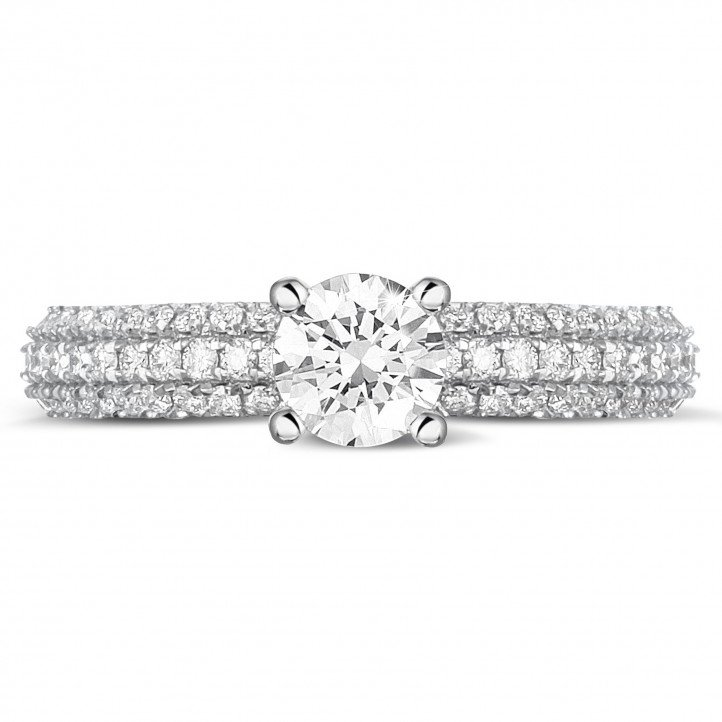 0.50 carat solitaire ring (full set) in platinum with side diamonds