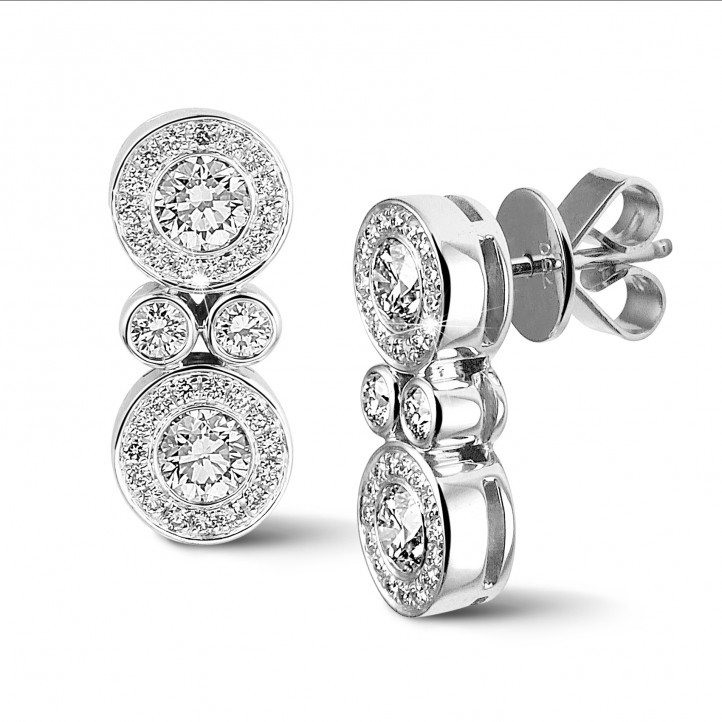 1.00 carat diamond earrings in white gold