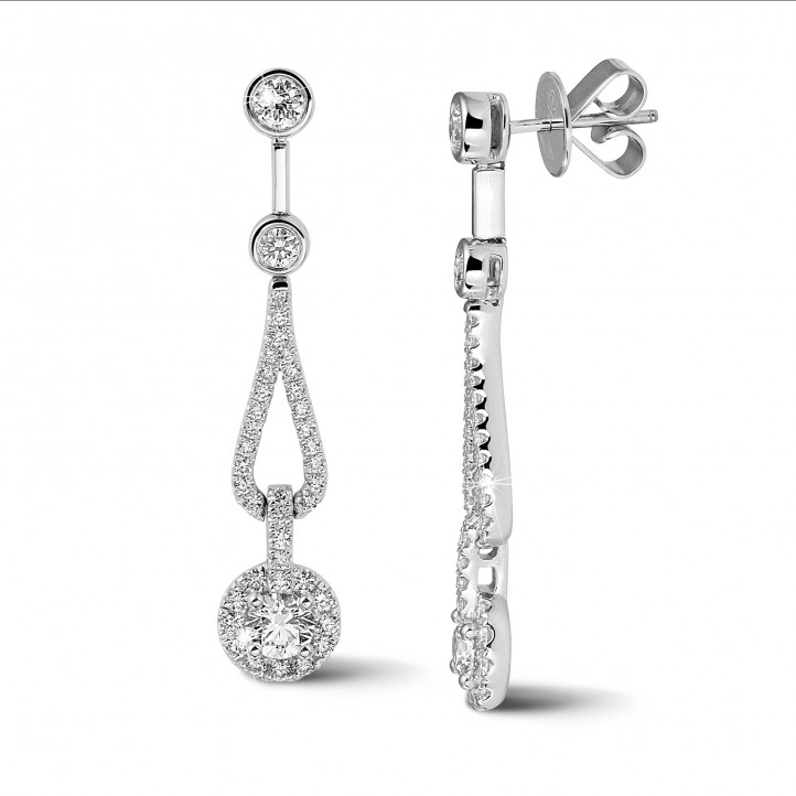 1.20 carat diamond earrings in white gold