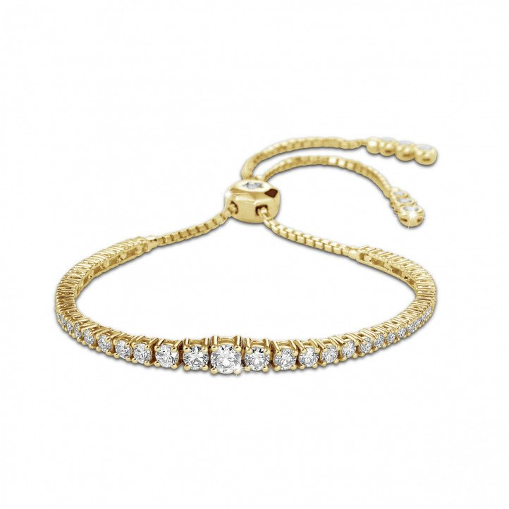 1.50 carat diamond gradient bracelet in yellow gold
