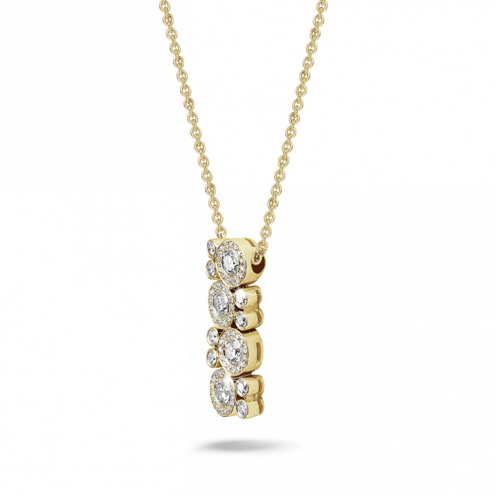 1.20 carat diamond necklace in yellow gold