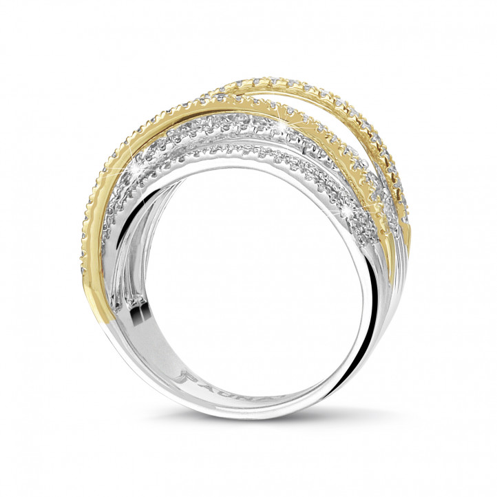 1.60 carat ring in yellow gold with round diamonds