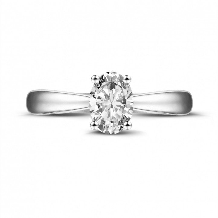 0.58 carat solitaire ring in white gold with oval diamond
