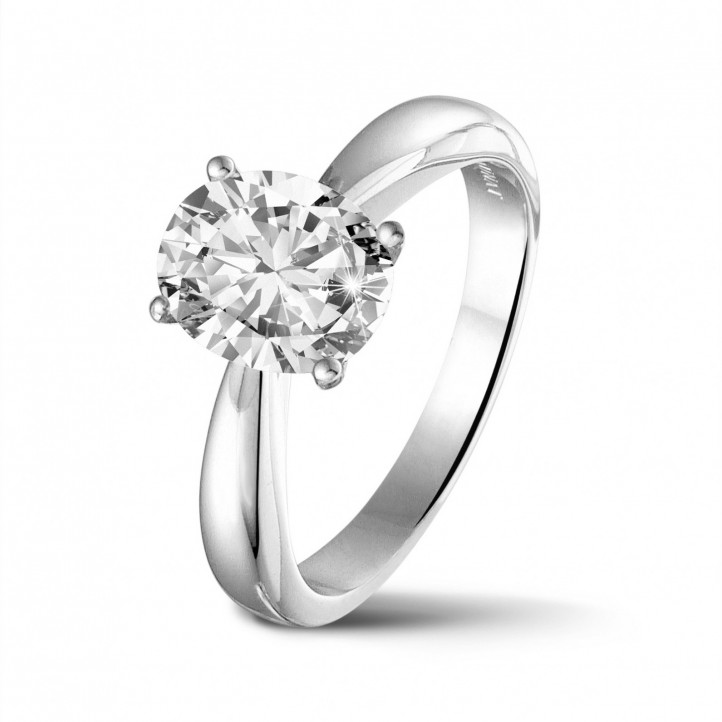 1.90 carat solitaire ring in white gold with oval diamond